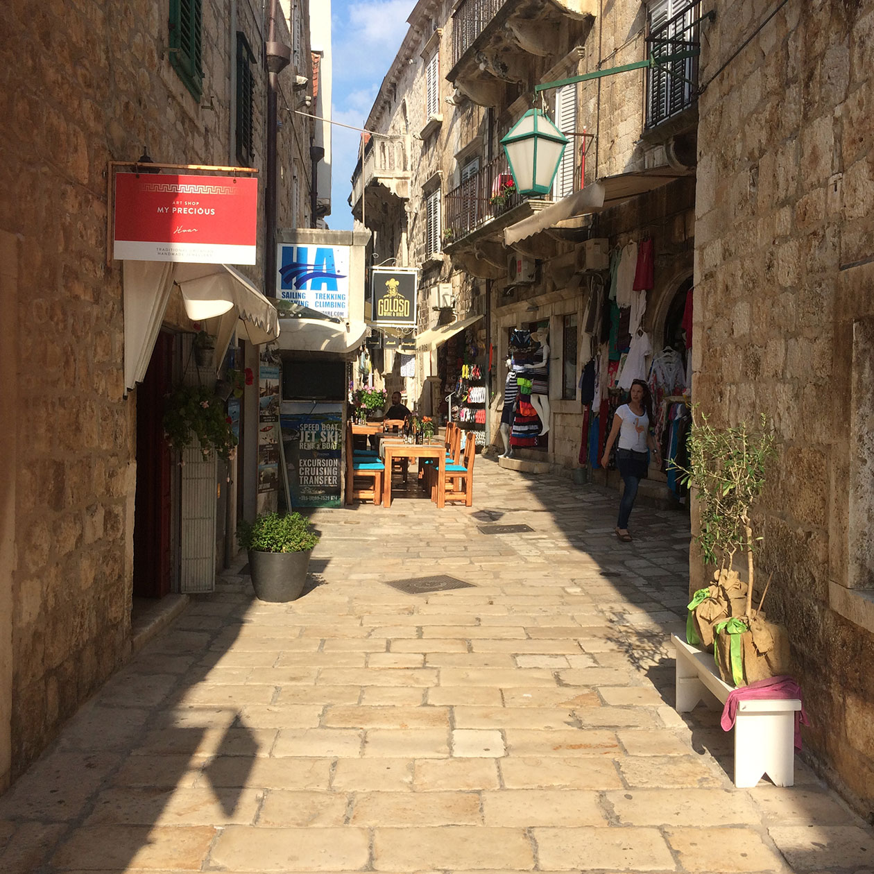 Hvar City old town streets alleys shopping restaurant island croatia travel
